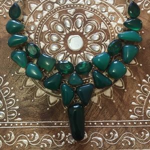 Green stone sterling necklace,boho,ethnic, tribal